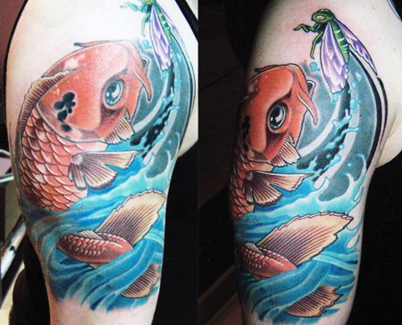 Color koi fish tattoo by Shawn at Phenomabomb Tattoo shop